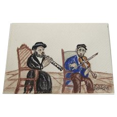 Folk Art Pastel Painting by Signed Fred Veston Judaica