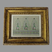 Print Needlepoint Berlin Gothic in Water Gilt Frame
