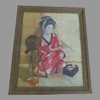 Painting by Willem Dooyewaard (Dutch 1892-1980) Signed Geisha with Mirror