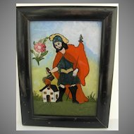 Spanish Colonial Reverse Painted Framed Folk Painting Giant Putting out Fire