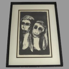 Irene Stein Etching Signed Two Faces