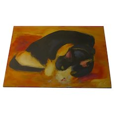 "Oil on Board of Cat by Edwin Friedman, Denver ""Butch"""