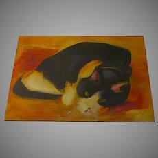 """Oil on Board of Cat by Edwin Friedman, Denver """"Butch"""""""