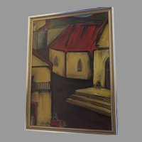 Large Painting on Artist Board by Ernest Sinnes  Signed and Dated