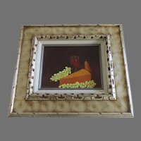 Vintage Signed Painting on Board Still Life Grape Cheese Wine Framed