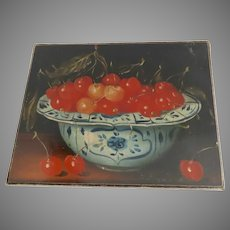 Vintage Canvas Print Still Life Cherries in Delft Bowl