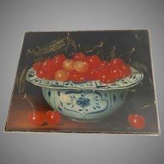Vintage Canvas Print Still Life Cherries in Delft Bowl