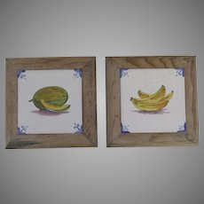 Pair of vintage Spanish Framed Tiles with Bananas and Papaya Motif