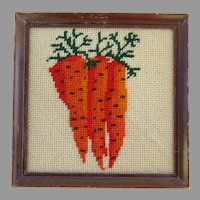 Vintage Handmade Needlework Carrots Framed
