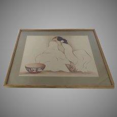 """Vintage R. C. Gorman Print """"Zia"""" Woman Bowl"""