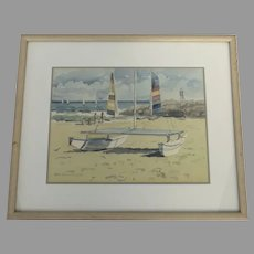 Original Watercolor Painting by Miho Simunovic  (20th Century) Boats Pontoon