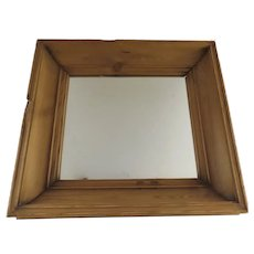 19th Century Wide Deep Pine Molded Frame Mirror
