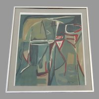 "Bram Van Velde Lithograph in 7 Colors  ""Riviere 2/100, """