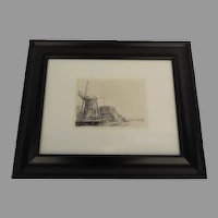 """""""De Molen"""" """"Windmills"""" Rembrandt Etching from The Rembrandt House Museum Amsterdam"""