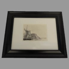 """De Molen"" ""Windmills"" Rembrandt Etching from The Rembrandt House Museum Amsterdam"