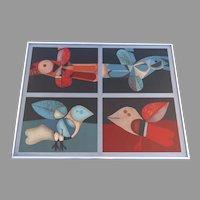 """Serigraph Print """"Birds Pajaros"""" by Josep Maria García Llort (Spain, 1921 - 2003)"""