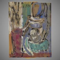 Signed Dated Tempra Painting Guton Abstract 1963