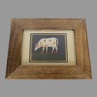 Vintage Folk Art Painting Sacred Hindu India Cow