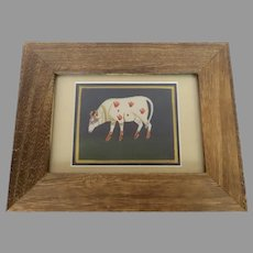 Vintage Folk Art Painting Sacred Hindu India Cow