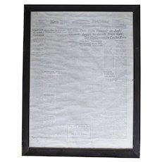 Large Copy of New York Tribune Newspaper Holt Kills Himself  1915 Alias Erich Münter, Erich Muenter, Erich Holt or Frank Holt