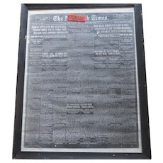 Large Copy of New York Times Newspaper Holt Kills Himself  1915 Alias Erich Münter, Erich Muenter, Erich Holt or Frank Holt