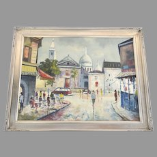 Vintage Painting French Street Scene