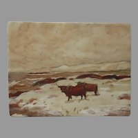 Thomas Hunt, A.R.S.A.,R.S.W (1854-1929) Bodycolor Watercolor Cattle in Pasture