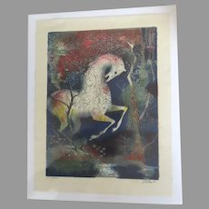 Vintage Signed Numbered Silkscreen Magical Imaginary Horse