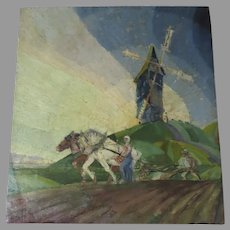 Vintage Russian Painting Farming Windmill Horses