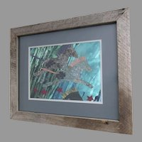 Collage Painting by Barbara Burlingame Signed Horses Rustic Frame