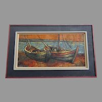 Large Horizontal Mid Century Painting Boats Signed