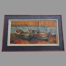 Large Horizontal Mid Century Painting Boats Signed