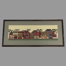 Vintage Cross Stitch Old Fashioned Town Scene Stores Fishing Books