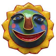 Vintage Signed Gina Truex Papier Mache Sun Globe Face Mask Sculpture Wall Hanging
