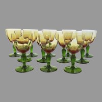 Pair Two (2) French Portieux Wine Water Glasses Amber Green
