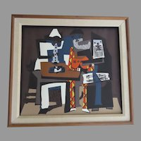 "Vintage Silkscreen Print ""Three Musicians"" Picasso"