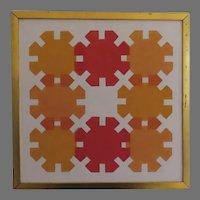 Mid Century 1970's Silk Screen Signed Dated Gilt Frame Sun Wheels