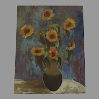 Oil on Board by George Cermak (American, Yugoslavian born, 1916-2003) Signed Still Life Sunflowers