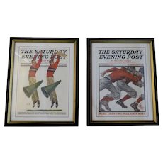 Two (2) Original Saturday Evening Post Magazine Covers 1913 1930 Football Sports Cheerleader Themes Framed