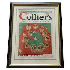 Vintage Colliers Magazine October 13, 1934 Arthur Crouch Magazine Cover Framed Football