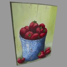 Hand Painted Strawberries in Blue Enamelware on Board Country Kitchen