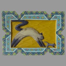 Vintage Carved Painted Wall Hanging on Board Cat Chasing Mouse Southwest Jaima Designs Taos, New Mexico