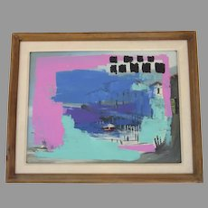 Vintage Oil on Board Painting Modern Abstract