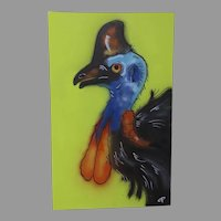 Contemporary Airbrushed Painting of a Cassowary turkey dinosaur