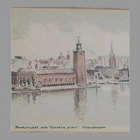 R Eriksson Print Stadshuset (City Hall) Gamla Stan (Old Town) Stockholm Signed
