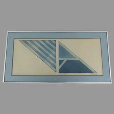 Print Untitled Artist Proof Angular Blue Forms by Artist  by R. French