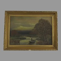 Gilt Framed Oil on Canvas Painting of a Man Paddling Downstream