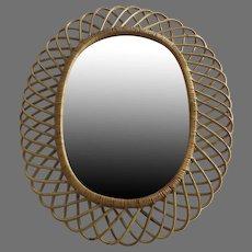 Vintage Oval Rattan Mirror 1960's 1970's Italy