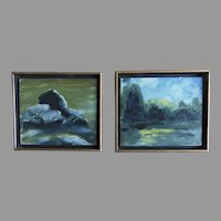 Two Signed Dated Oil on Board Seascapes Framed Small