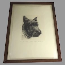 Original Etching by Kurt Meyer-Eberhardt 1895-1977 Terrier Dog Pencil Signed